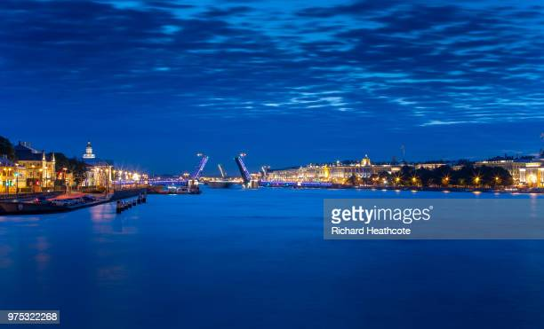 A view down the Neva River towards the Palace Bridge ahead of the FIFA World Cup 2018 on June 13 2018 in St Petersburg Russia