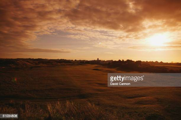 A view down the par 5 18th hole towards the clubhouse at Royal Birkdale Golf Club on April 21 2004 in Birkdale England