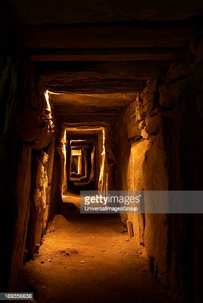 View down the passage of the largest burial mound at Knowth a Neolithic or New Stone Age burial site in County Meath This is one of the three great...