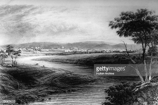 A view down the river Torrens towards the city of Adelaide Australia circa 1850 Engraving by Carr and JC Armytage