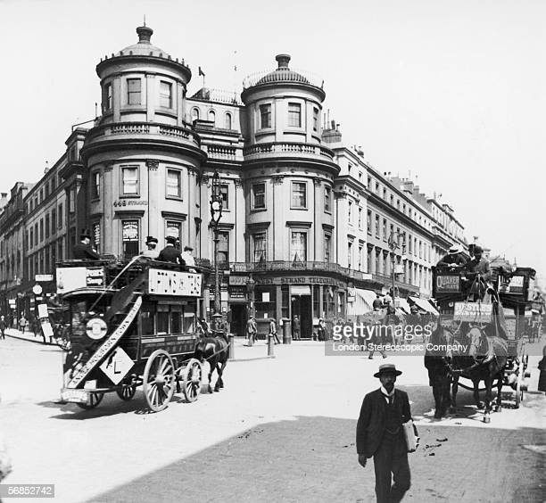 A view down the Strand London from Charing Cross circa 1890