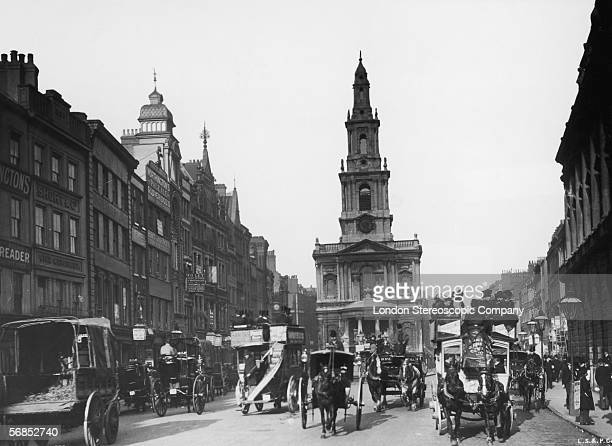 A view down the Strand London towards the church of St Mary le Strand circa 1891