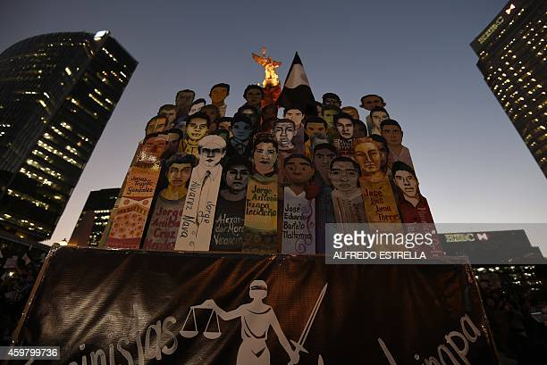 View during a protest demanding justice in the case of the 43 missing students from Ayotzinapa on December 1 2014 Mexican President Enrique Pena...