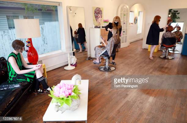 A view during a styling appointment at Shampoo Salon on May 08 2020 in Fort Worth Texas Texas Governor Greg Abbott announced that hair salons barber...