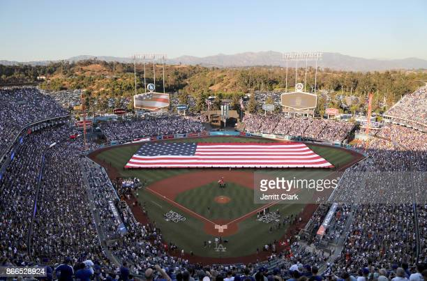 View during flag ceremony prior to the start of The 2017 World Series Game 2 at Dodger Stadium on October 25 2017 in Los Angeles California