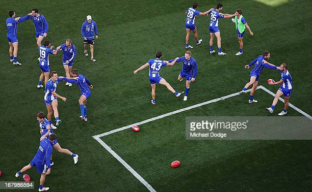 A view during Kangaroos warm up before the round six AFL match between the North Melbourne Kangaroos and Port Adelaide Power at Blundstone Arena on...