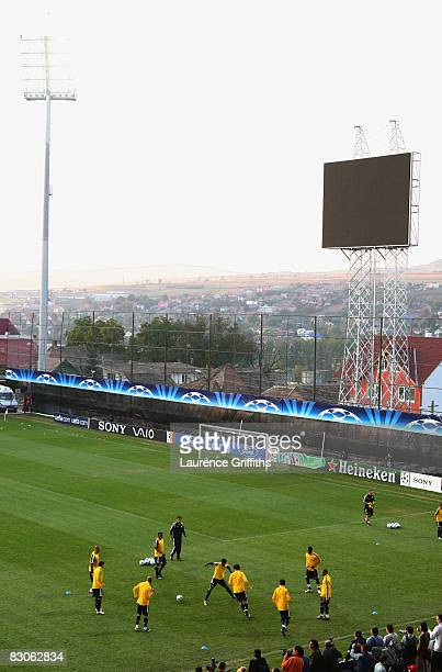 A view during the Chelsea training session ahead of their Group A UEFA Champions League match with CFR ClujNapoca held at the Dr Constantin Radulescu...
