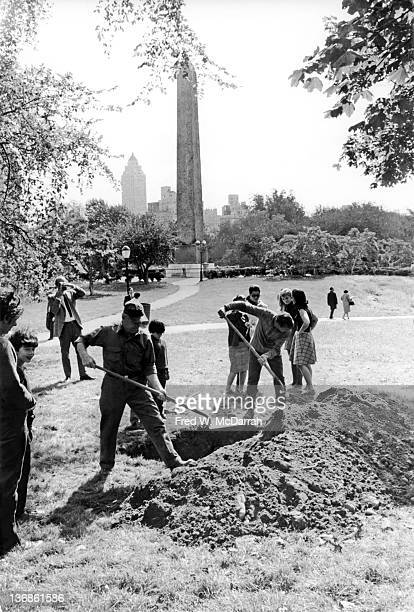 View during the 'construction' of 'Placid Civic Monument' by Swedishborn artist Claes Oldenburg near the Obelisk behind the Metropolitan Museum of...
