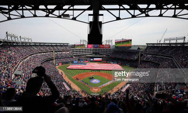 A view during the National Anthem prior to the Texas Rangers taking on the Chicago Cubs during Opening Day at Globe Life Park in Arlington on March...
