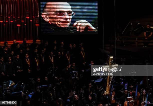 View during the wake of the founder of Venezuela's National System of Children and Youth Orchestras Jose Antonio Abreu in Caracas on March 25 2018...
