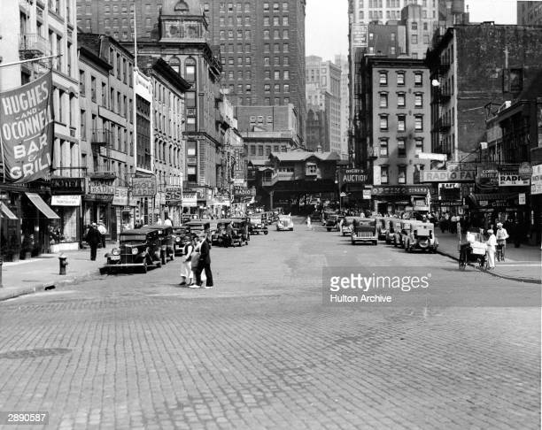 View east along Cortlandt Street across West Street New York New York circa 1930s The entire area known as Radio Row for its heavy concentration of...
