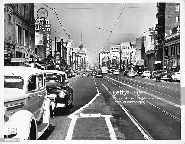 View east along Hollywood Boulevard Los Angeles California ca 1950 Photo by Weegee /International Center of Photography/Getty Images