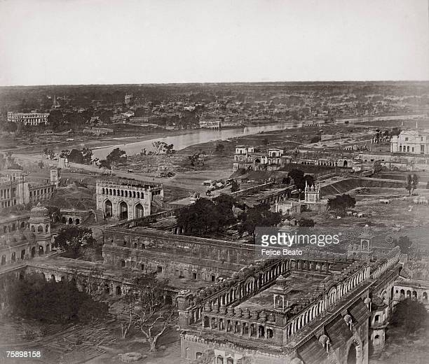 A view eastwards over the city of Lucknow taken from the roof of the Bara Imambara shortly after the Indian Mutiny circa 1858 The Gomti River is...