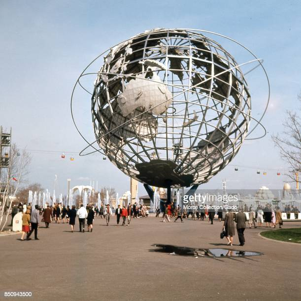 View facing east of the steel Unisphere globe symbol of the 1964 New York World's Fair in Flushing Meadows Park Corona Queens New York City May 1964...