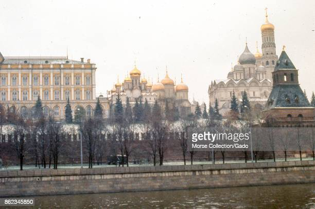 View facing north of the southern wall of the Kremlin building complex taken from the Sofiyskaya Embankment located across the Moscow River November...