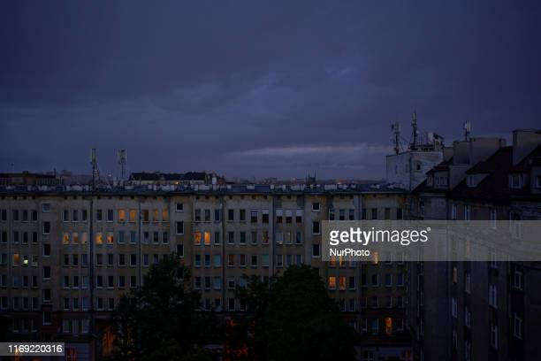 A view facing South over the city center is seen at dusk in Warsaw Poland on September 18 2019
