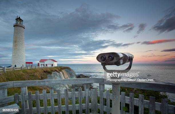 view finder at cap des rosiers lighthouse during sunset - cap des rosiers stock pictures, royalty-free photos & images