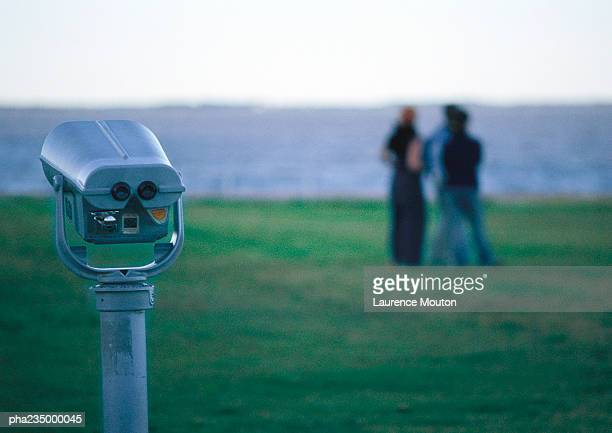 View finder, people in distance, blurred.