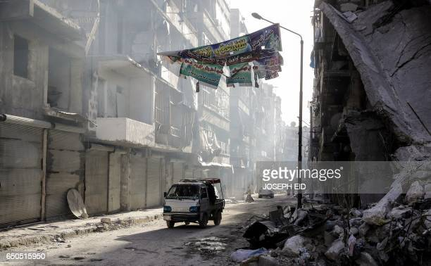 TOPSHOT A view for the once rebel held alShaar neighbourhood in the city of Aleppo north of Damascus on March 9 2017 A picture taken on March 9 2017...