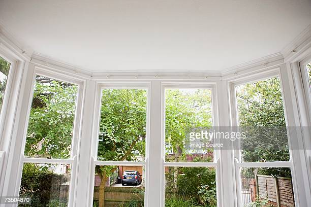 view from a bay window - erker stockfoto's en -beelden