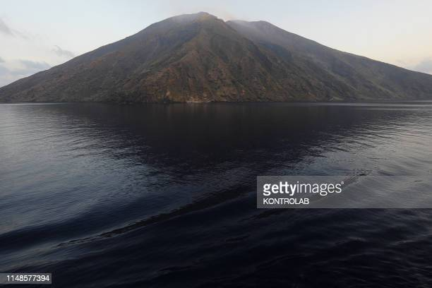 A view from a boat of Stromboli volcan Island in the southern Tirrenian Sea