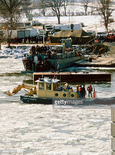 View from a bridge of United States Army Corps of Engineers Debris Vessel BD6 as its crew works to raise the wreckage Air Florida Flight 90...