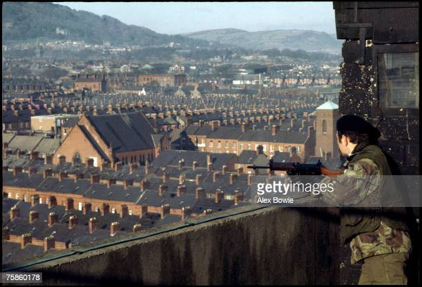 View from a British Army Observation Post on the roof of a council tower block overlooking the republican New Lodge area of Belfast, 20th February...