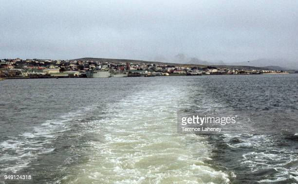 View from a British shipleaving leaving Port Stanley for the UK after the Falklands War of 1982