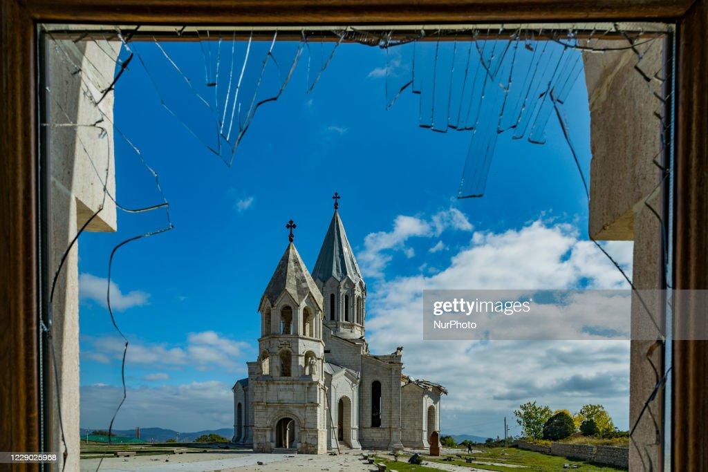Aftermath After Azerbaijan Shelling Over The Shushi Cathedral In Nagorno Karabakh : News Photo