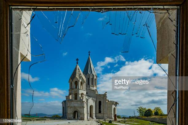 View from a broken window of a building near the Shushi cathedral, Ghazanchetsots Cathedral, after Azerbaijan shelling that destroyed part of roof in...