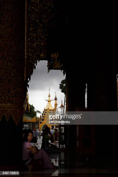View from a building at the Shwedagon Pagoda in Yangon on June 16 2016 in Yangon Myanmar