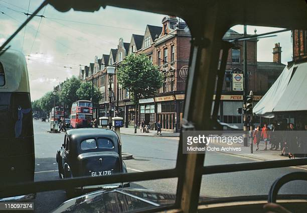 View from a car driving towards Chiswick in London England in June 1946