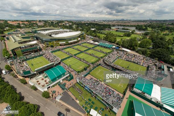A view from a crane shows the site of The All England Lawn Tennis Club in Wimbledon southwest London on June 27 2016 on the first day of the 2016...