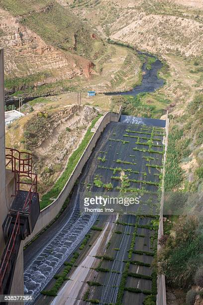View from a dam on a channel flow to a riverbed at King Talal Dam on April 08 2016 in Amman Jordan