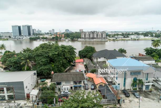view from a flat balcony in lagos (nigeria) - lagos nigeria stock pictures, royalty-free photos & images