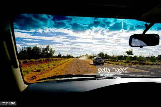 View from a four-wheel-drive vehicle on Mereenie Loop Road, Red Centre, Australia.