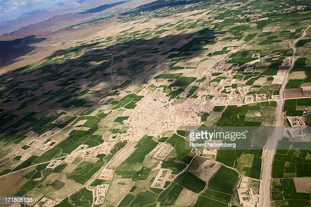 View from a helicopter of farm land May 6, 2013 in central Logar Province, Afghanistan. Taliban insurgents have a strong foothold in Logar Province...