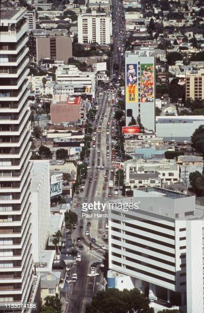 View from a helicopter of The Sunset Strip on Sunset Boulevard November 11, 1993 West Hollywood, Los Angeles, California
