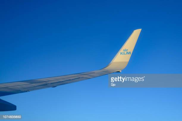 View from a KLM airplane flying high in the air