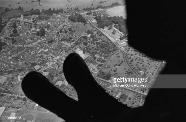 A view from a military aircraft flying out of Dreux Air Force Base a US Air Force base in France circa 1965