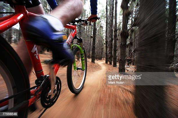 A view from a MTB of the Telemark section of track before the Mont 24 Hour MTB Race held at Majura Pines forest on October 27 2007 in Canberra...