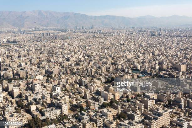 A view from a plane window on Tehran the capital of Iran on September 27 2018