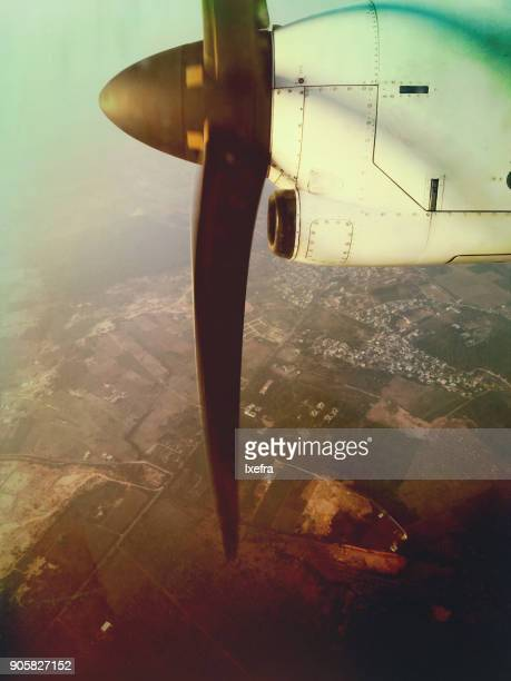A view from a propeller aircraft