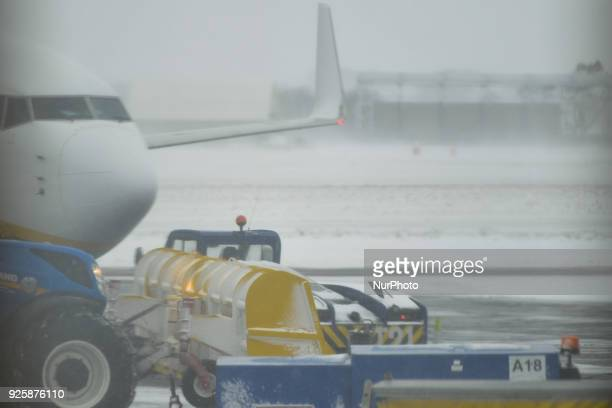 A view from a Ryanair plane window at Dublin Airport as many flight from and to Dublin airport were cancelled as the 'Beast from the East' has hit...
