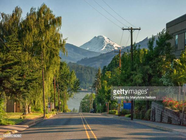 view from a street in hood river - hood river stock pictures, royalty-free photos & images