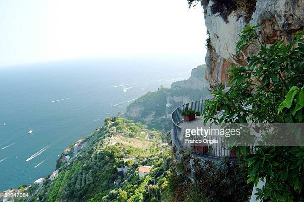 A view from a terrace from 'Villa la Rondinaia' looking the Amalfi's coast of the Italian residence of the American writer Gore Vidal is seen August...
