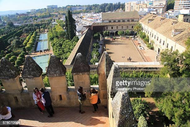 View from a tower over Alc‡zar de los Reyes Cristianos Alcazar Cordoba Spain looking over gardens and equestrian center