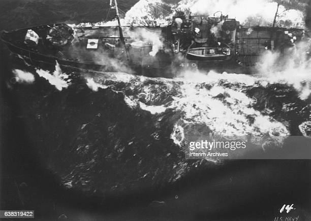 View from a US Navy photoreconnaissance plane during an attack on a Japanese cargo ship in the Marshall Islands area 1940s