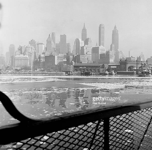 View from aboard the Staten Island ferry of the New York City skyline New York New York 1948