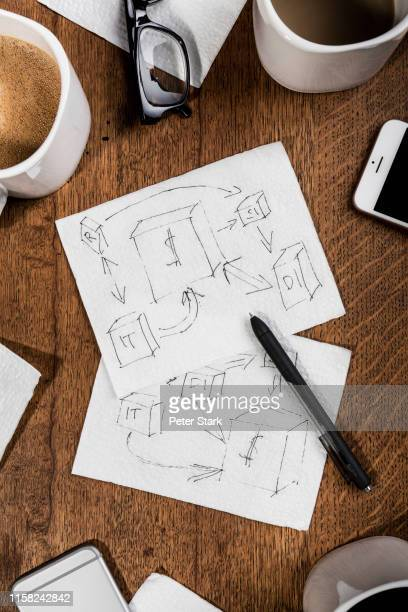 view from above flow chart sketches on napkins - napkin stock pictures, royalty-free photos & images